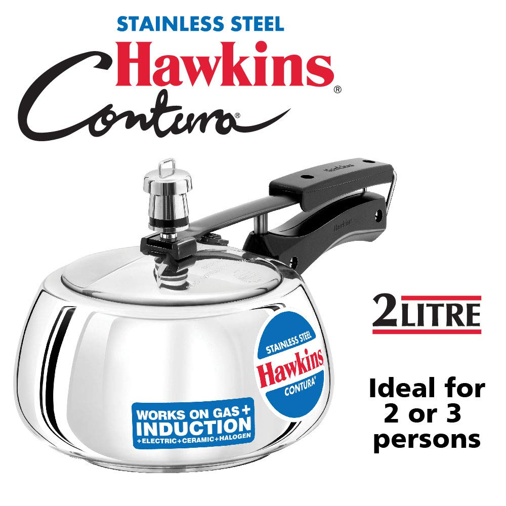 Hawkins Stainless Steel Contura 2 L Induction Bottom Pressure Cooker  (Stainless Steel)