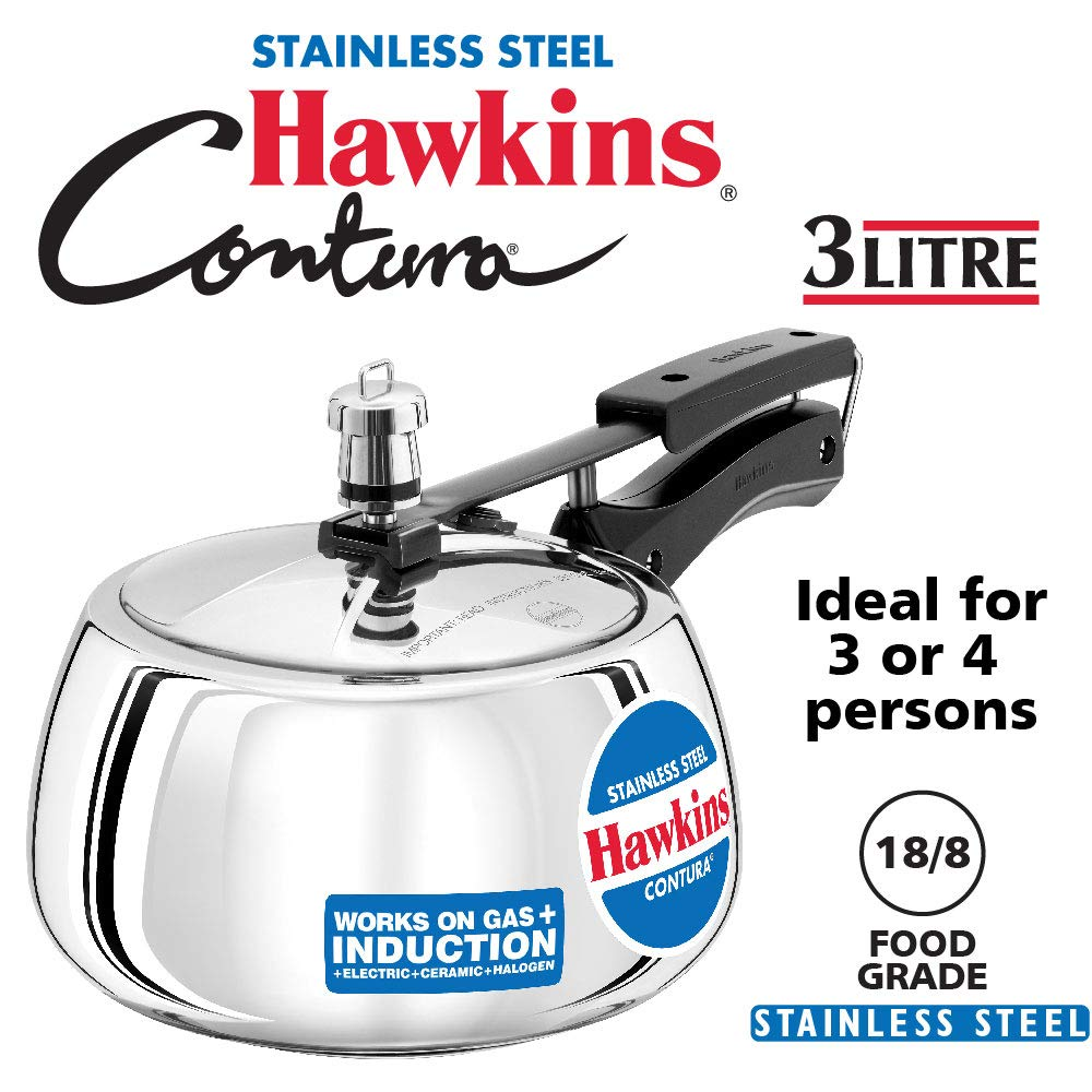 Hawkins Stainless Steel Contura 3 L Induction Bottom Pressure Cooker  (Stainless Steel)