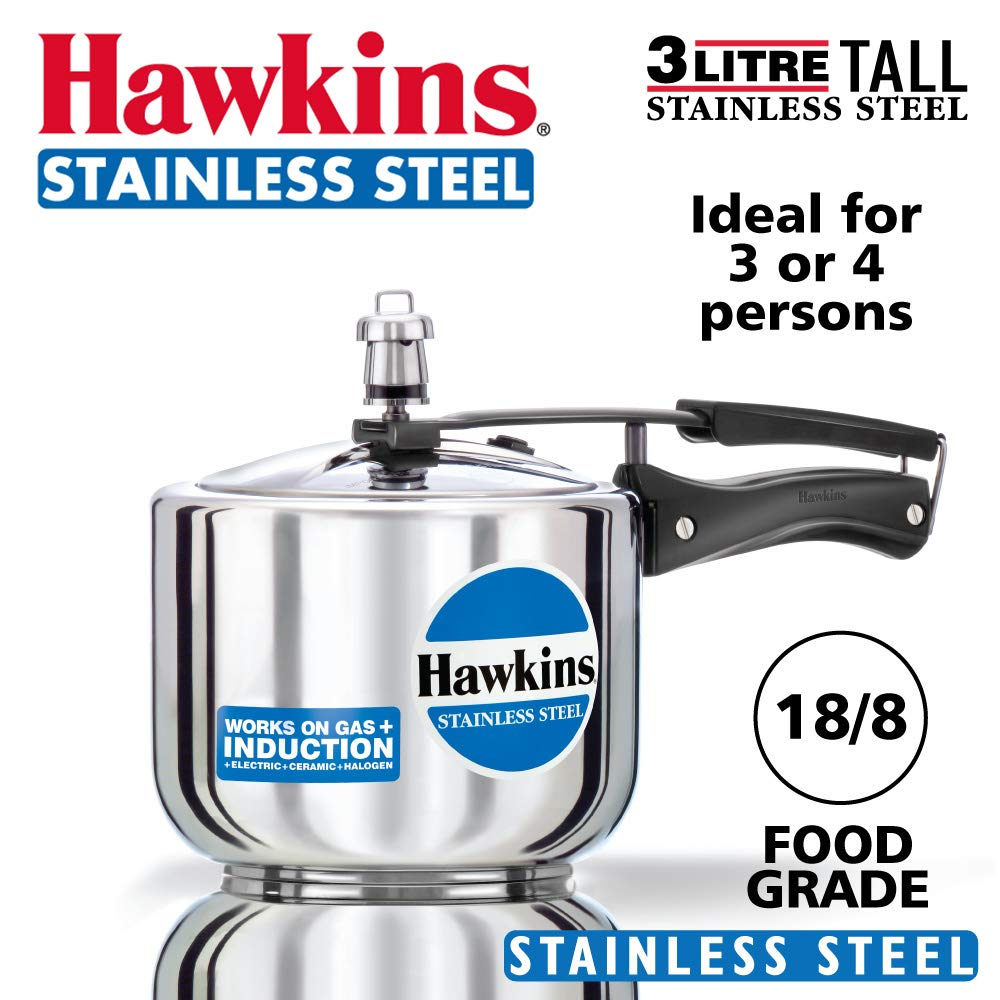 Hawkins Stainless Steel HSS3T 3 L Induction Bottom Pressure Cooker  (Stainless Steel)